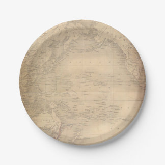 Vintage World Map Old Parchment 7 Inch Paper Plate