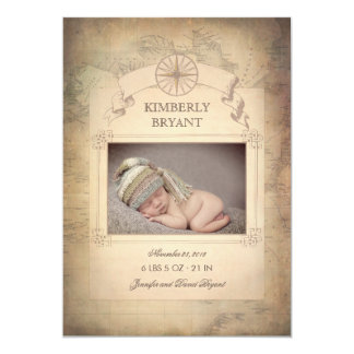 Vintage World Map Photo Baby Birth Announcement