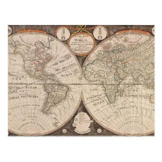 Vintage World Map Postcards