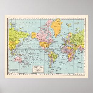 World map posters photo prints zazzle au vintage world map poster gumiabroncs Choice Image