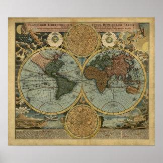 Vintage World Map Poster - 1716 Homann World Map