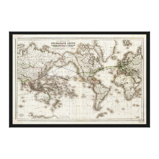 Vintage World Map Showing Telegraph Lines (1871) Canvas Print