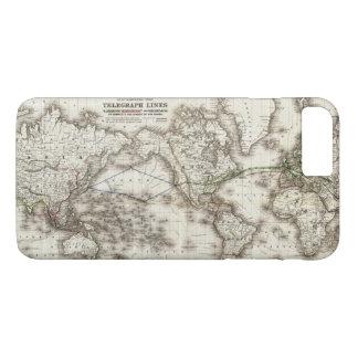 Vintage World Map Showing Telegraph Lines (1871) iPhone 8 Plus/7 Plus Case