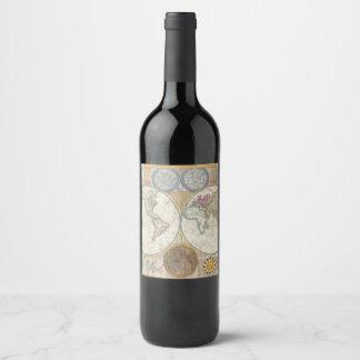 Vintage WORLD MAP Wine Label