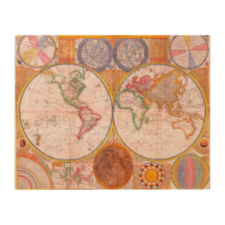 Vintage World Map Wood Canvases