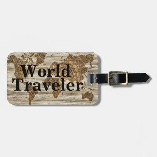 Vintage World Map World Traveler & Name Luggage Tag