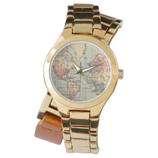 Vintage World Map Wrap Watch