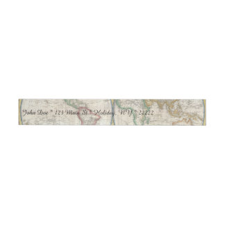 Vintage World Map Wraparound Address Label