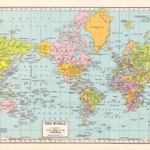 Vintage World Map Wrapping Paper | Zazzle.com.au