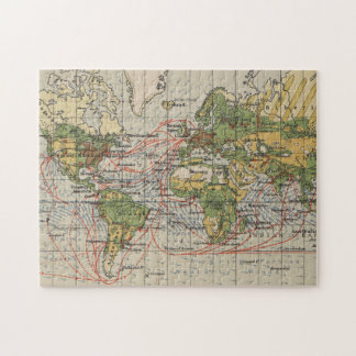 Vintage World Sailing Routes Map (1914) Jigsaw Puzzle
