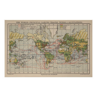 Vintage World Sailing Routes Map (1914) Poster