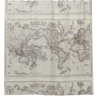 Vintage World Telegraph Lines Map (1855) Shower Curtain
