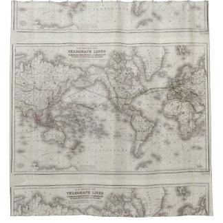 Vintage World Telegraph Lines Map (1855) Shower Curtain