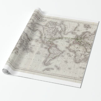 Vintage World Telegraph Lines Map (1855) Wrapping Paper