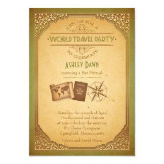 Vintage World Travel Bat Mitzvah Invitation