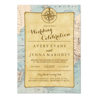 Vintage World Travel Map Wedding Invitation