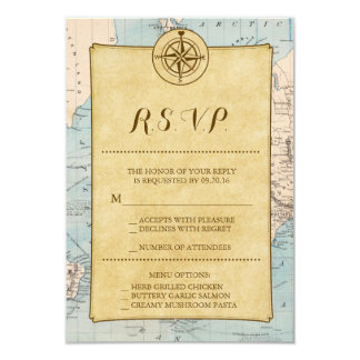 Vintage World Travel Map Wedding RSVP Card