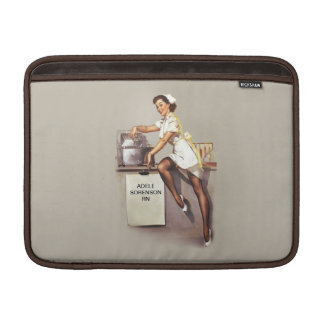 Vintage World War 2 PinUp Nurse Custom Name Sleeve For MacBook Air