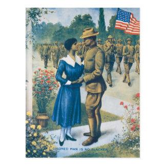 Vintage World War I Colored Man Is No Slacker Postcard