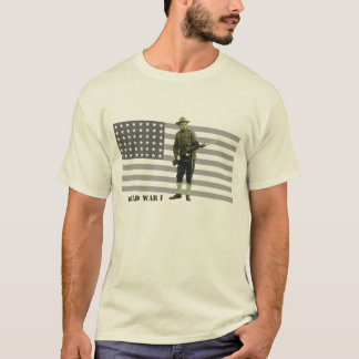 Vintage World War I Doughboy Soldier with Flag T-Shirt