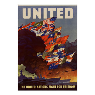 Vintage World War II Allied Flags Poster