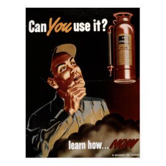 Vintage World War II Fire Extinguisher Safety Postcard