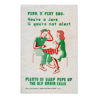 Vintage World War II Perk 'n Pert Checkers Sleep Poster