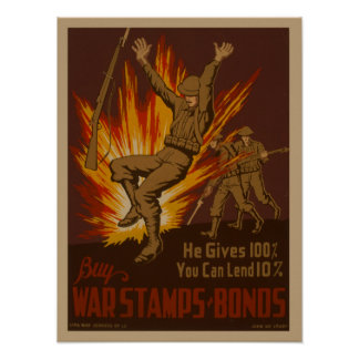 Vintage World War II USA Britain War bonds poster