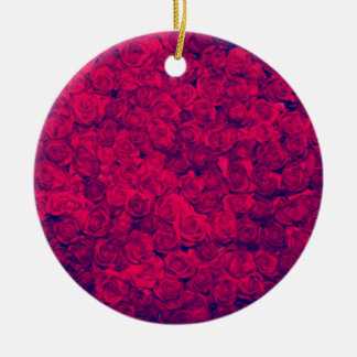 Vintage worn chic hipster textile deep red roses christmas tree ornament