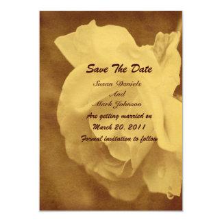 "Vintage Worn Rose Floral Wedding Save The Date 5"" X 7"" Invitation Card"