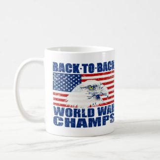 Vintage Worn World War Champs Eagle & US Flag Basic White Mug