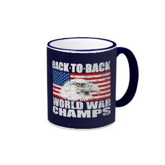 Vintage Worn World War Champs Eagle & US Flag Mug