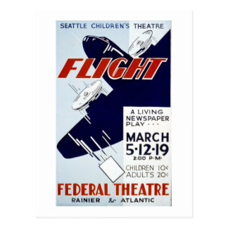 Vintage WPA Federal Theatre Project Flight Postcard