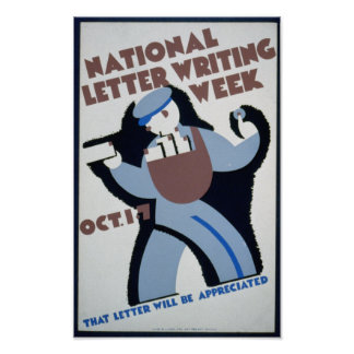 Vintage WPA: Letter Writing Poster