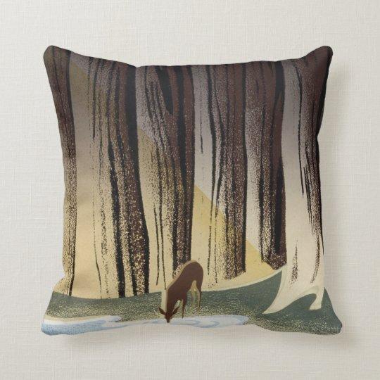 Vintage WPA Wild Life Deer National Parks Cushion