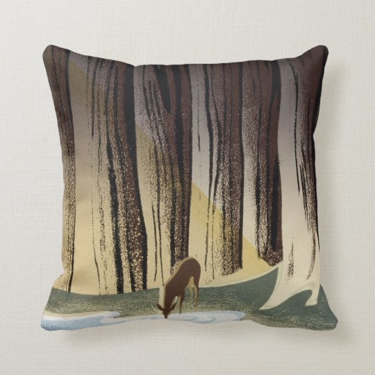Vintage WPA Wild Life Deer National Parks Throw Pillow