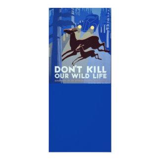 Vintage WPA Wildlife Conservation Poster 10 Cm X 24 Cm Invitation Card