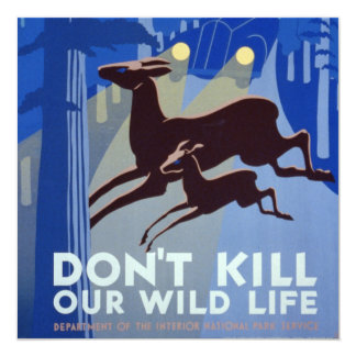 Vintage WPA Wildlife Conservation Poster 13 Cm X 13 Cm Square Invitation Card
