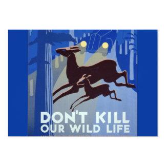 Vintage WPA Wildlife Conservation Poster 13 Cm X 18 Cm Invitation Card