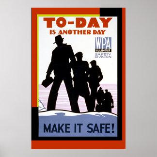 Vintage WPA Work Safety Poster Print