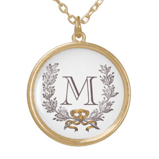 Vintage Wreath Personalized Monogram Initial Gold Round Pendant Necklace