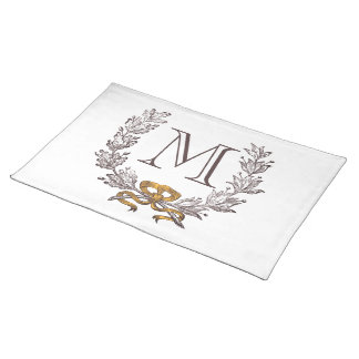 Vintage Wreath Personalized Monogram Initial Mat