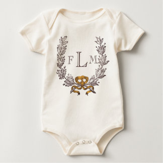 Vintage Wreath Personalized Monogram Initials Baby Bodysuit