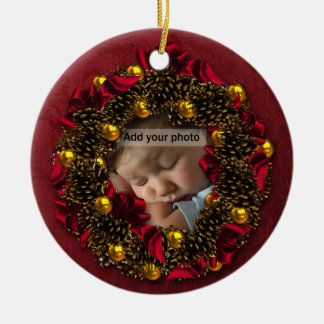 Vintage Wreath Photo Christmas Ornament