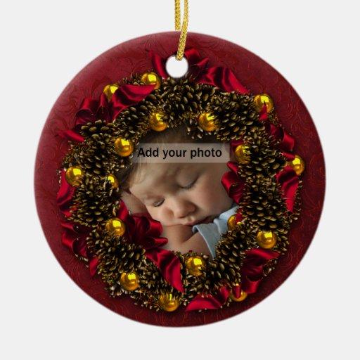 Vintage Wreath Photo Christmas Ornament