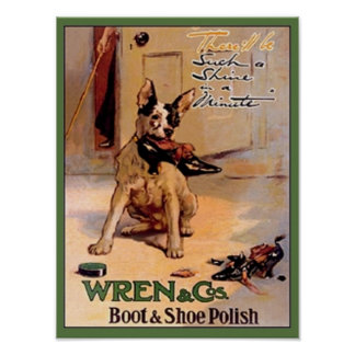 Vintage Wren & Co. Boot & Shoe Polish Ad Dog with  Poster