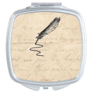 Vintage Writer's Feather Quill Mirror For Makeup