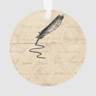 Vintage Writer's Feather Quill Ornament