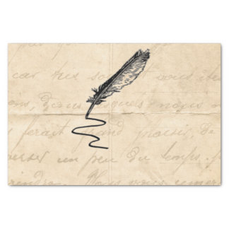 Vintage Writer's Feather Quill Tissue Paper