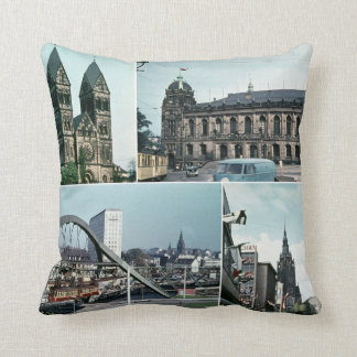 Vintage Wuppertal Photo Collage Throw Pillow